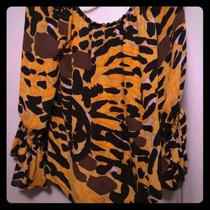 Betsey Johnson gold print boho blouse